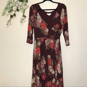 Anthro Maeve Floral Print Midi Dress Size Large
